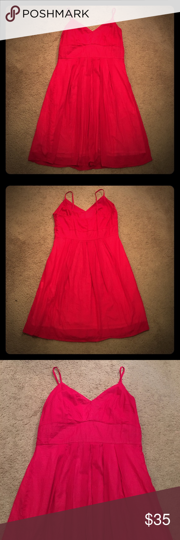 🌶HOT🌶 Red pinup style dress EUC fiery red dress with adjustable straps and side zipper. Fully lined and has good coverage over bust. Not Anthro but very similar. Anthropologie Dresses Midi
