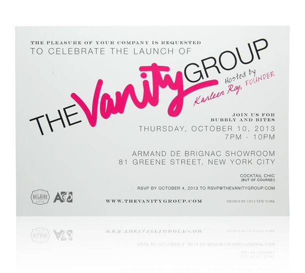 ceci new york launch party invitation for the vanity group. #nyc, Party invitations