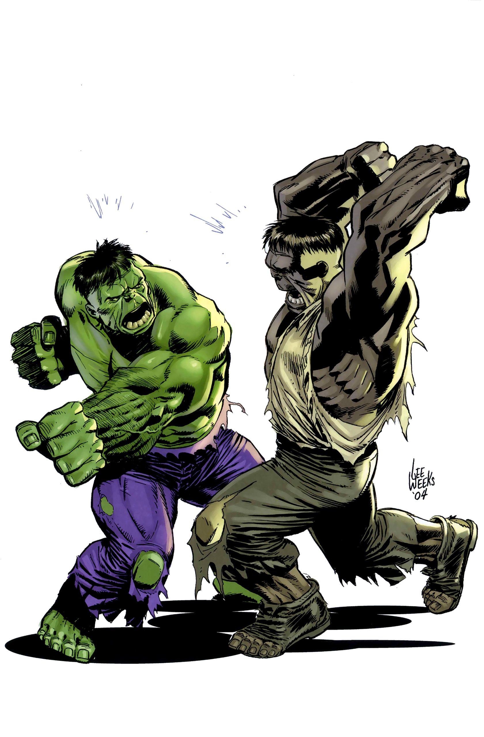 Hulk #Fan #Art  (Green Hulk vs Gray Hulk) By: Lee Weeks  (THE * 5