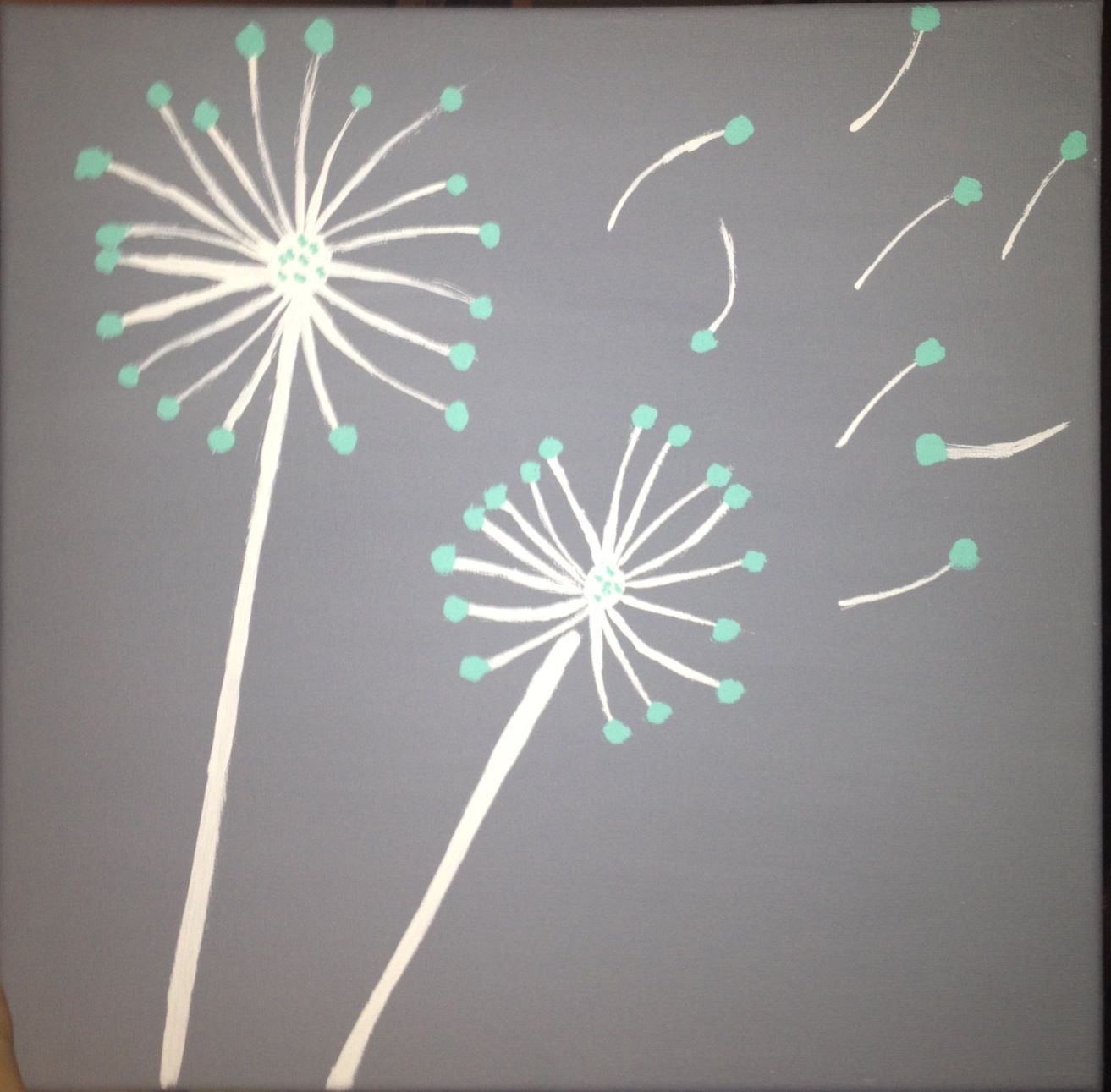 Teal and Gray DIY dandelion canvas painting