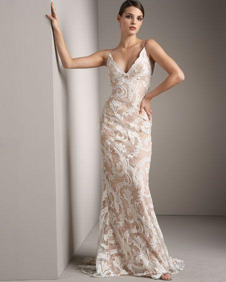 Velvet Burnout Wedding Dress