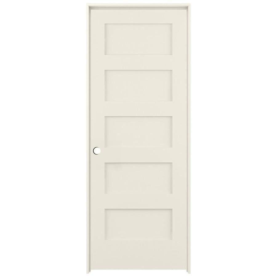 American Building Supply Shaker Moonglow 5 Panel Equal Solid Core Mdf Pine Pre Hung Door Common 24 In X 80 In Actual 25 375 In X 81 6875 In Lowes Com In 2020 Reliabilt Paneling Pine Doors