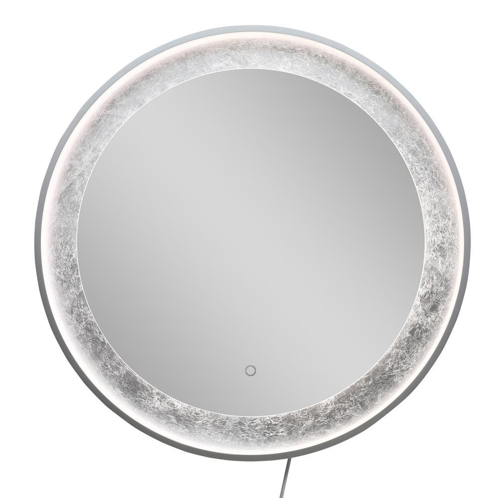 Boyel Living 32 In W X 32 In H Large Single Round Silver Foil Led Lighting Wall Mounted Bathroom Vanity Mirror Silver Ex 19010 R Sl The Home Depot In 2021 Bathroom Vanity Mirror Mirror