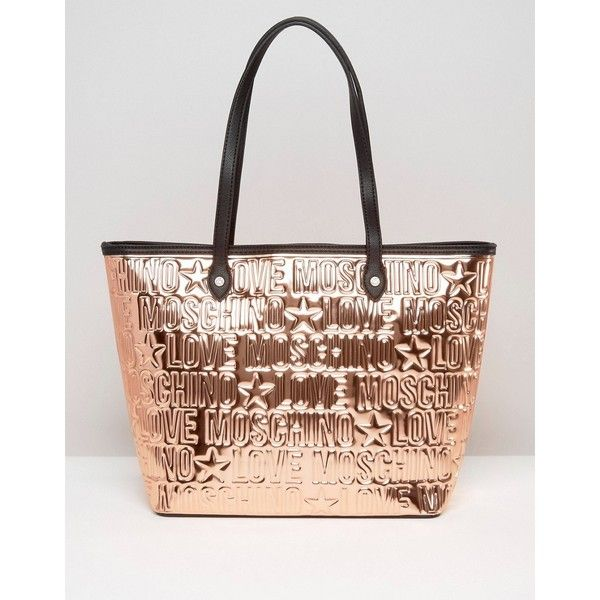 Love Moschino Metallic Copper Logo Shopper Bag ($165) ❤ liked on Polyvore featuring bags, handbags, tote bags, gold, zip top tote bag, shopper purse, logo shopping bags, copper purse and metallic tote
