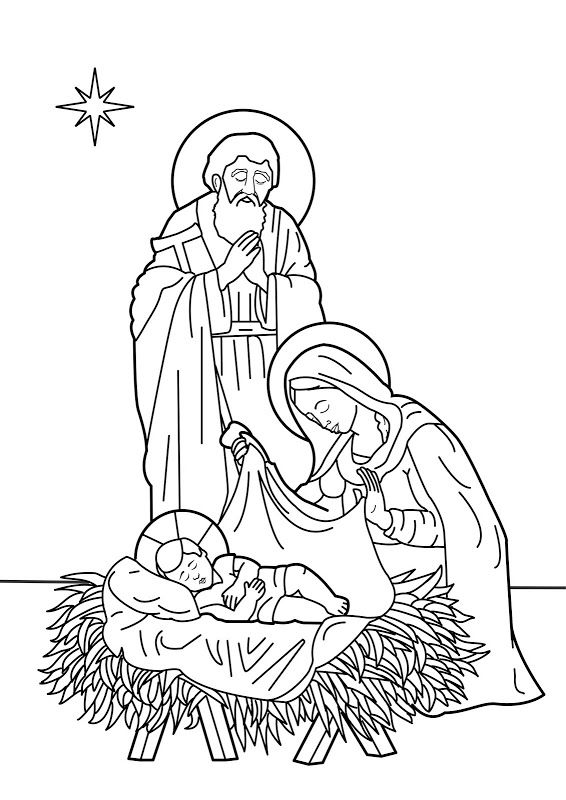 Christmas Jesus Birth Drawing.Jesus Is Born To Mary And Joseph Christmas Day Bible