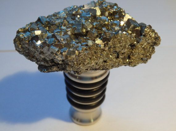 Pyrite Wine Stopper    Gemstone Geode Crystal Wine Stopper