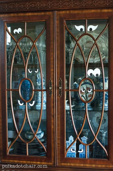 Spooky China Cabinet - A cheap idea for halloween decorations - halloween cheap decorations