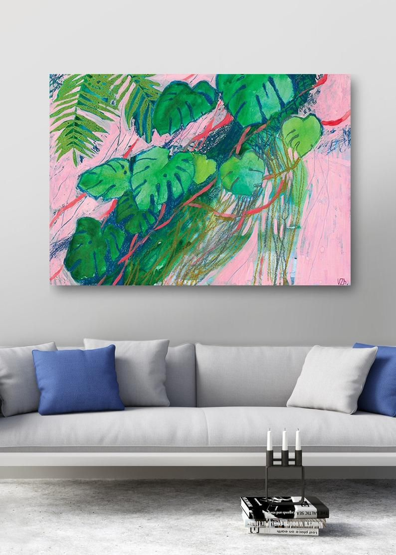 Bedroom Wall Decor Over The Bed Colorful Printable Wall Art Etsy Printable Wall Art Etsy Plant Painting Tropical Painting