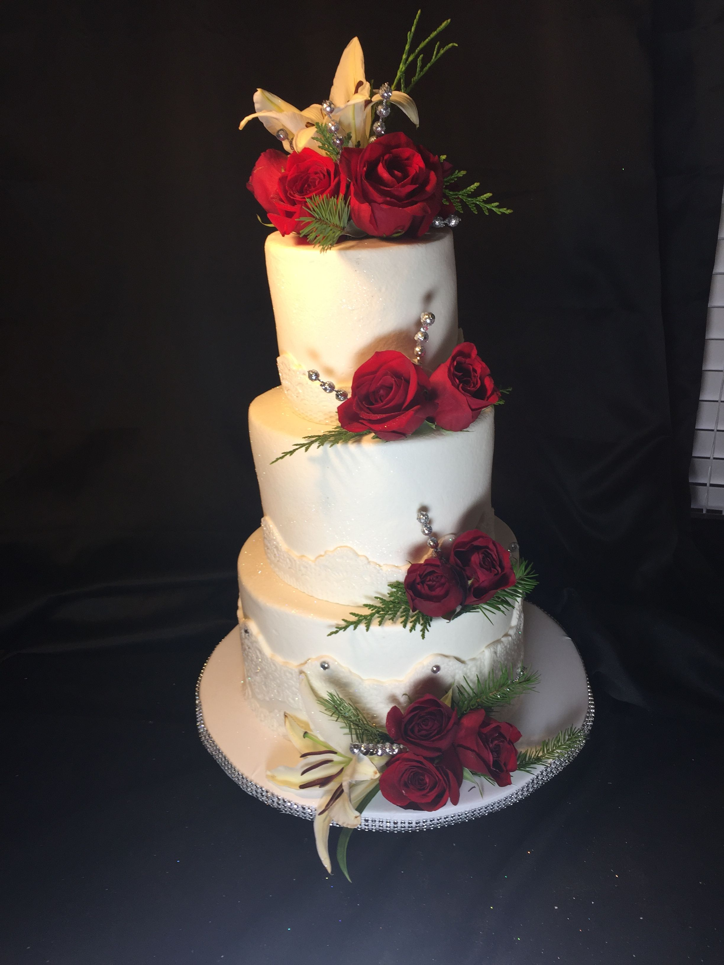 4 Tier Wedding Cake White And Red Holiday Design Wedding And