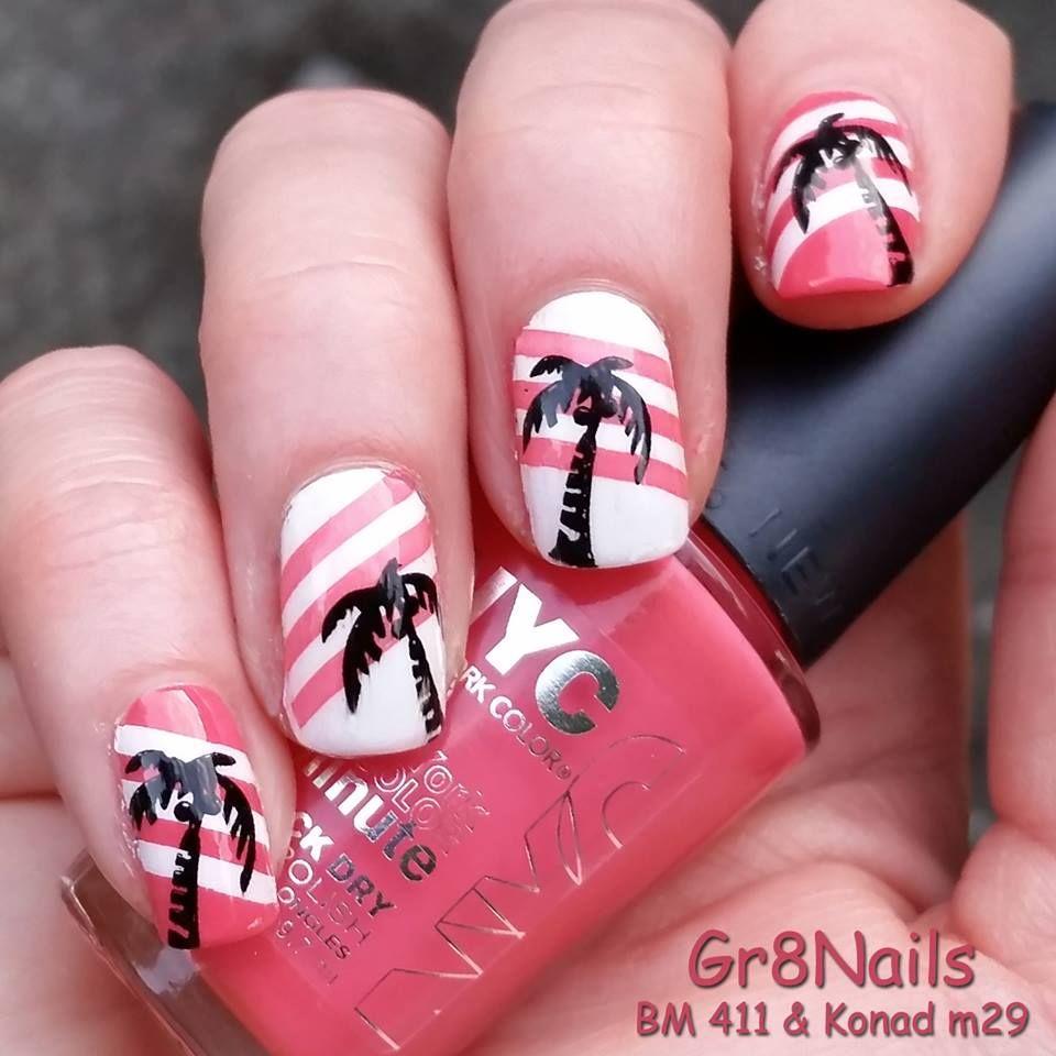 Tropical nail art using Bundle Monster and Konad stamping plates ...