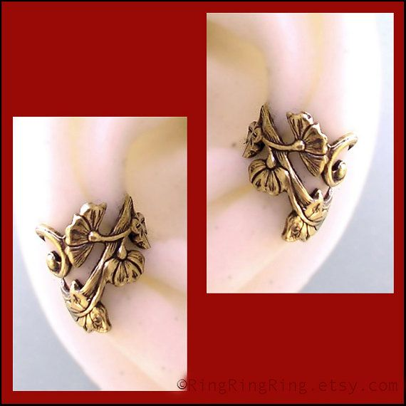 2 Art Nouveau style ear cuff earrings jewelry by RingRingRing, $50.00 (too expensive)