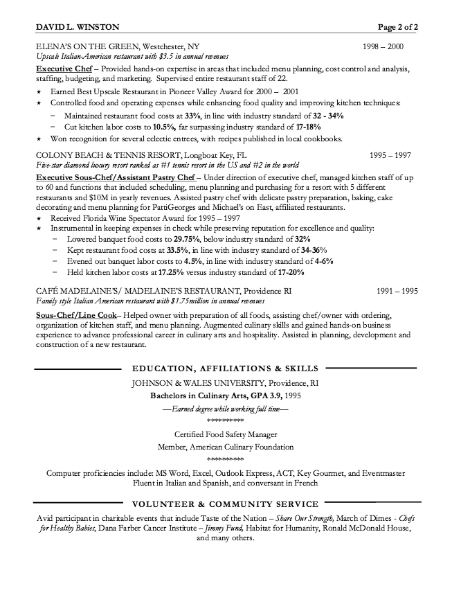 Executive Chef Resume Example  HttpResumesdesignComExecutive
