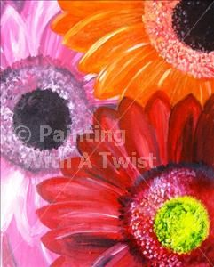 Gerbera Daisies Painting With A Twist Painting Class Gerbera