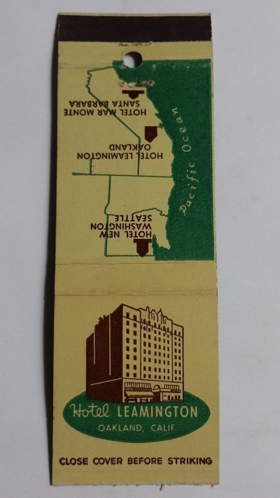 hotel leamington oakland california matchbook matchcover match rh ar pinterest com