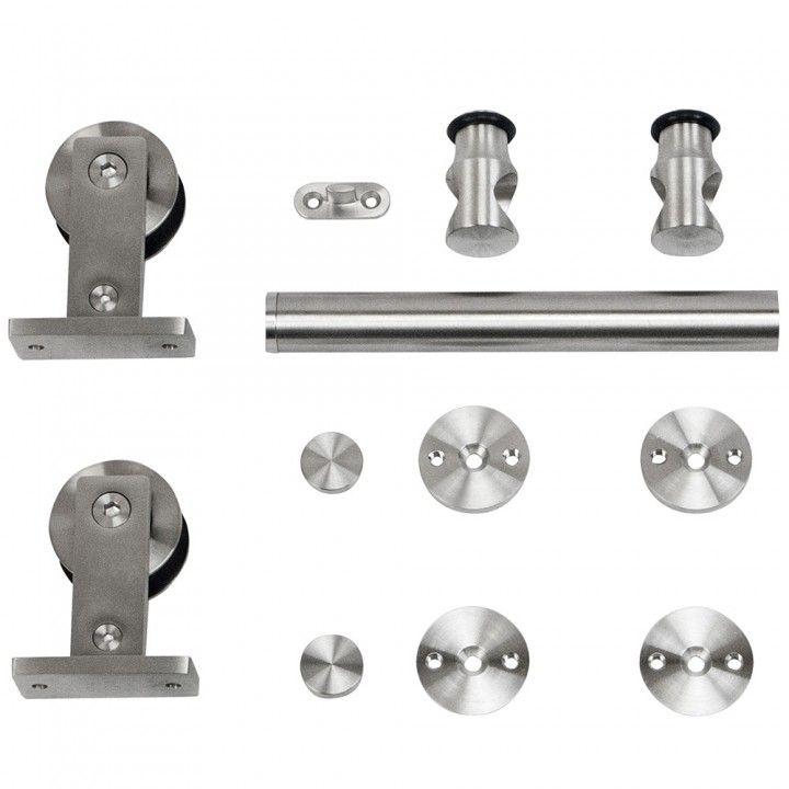 Rolling Barn Door Hardware Kit, Stainless Steel, Top Mount For Wood Doors # Barndoorhardware