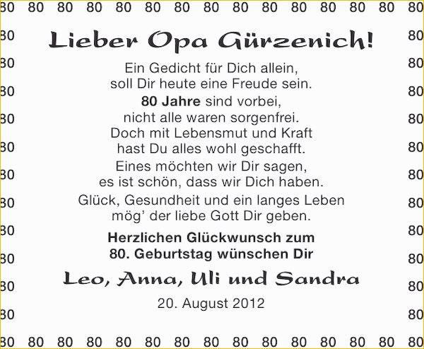 Geburtstagswunsche Zum Ausdrucken Schon Gedicht Zum 80 Geburtstag Opa 2 Die 20 Besten Ideen Fur Geburtstagswunsche Zum 80 O Birthday Wishes 80th Birthday Poems