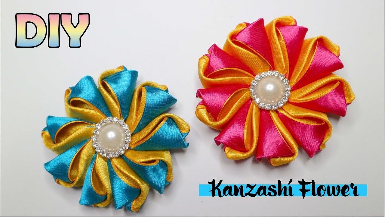 DIY    Kanzashi Flower Tutorial   Satin Ribbon   Bunga pita satin ...