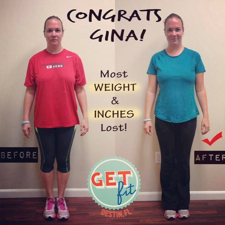 """Gina was awarded Get Fit Destin's """"Most Weight & Inches Lost"""" for the August Fit Challenge! AWESOME job Gina, keep it up!"""