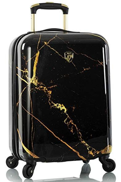 Heys America Portoro Marble 21 Quot Fashion Spinner Carry On Review Black And Gold Marble Heys