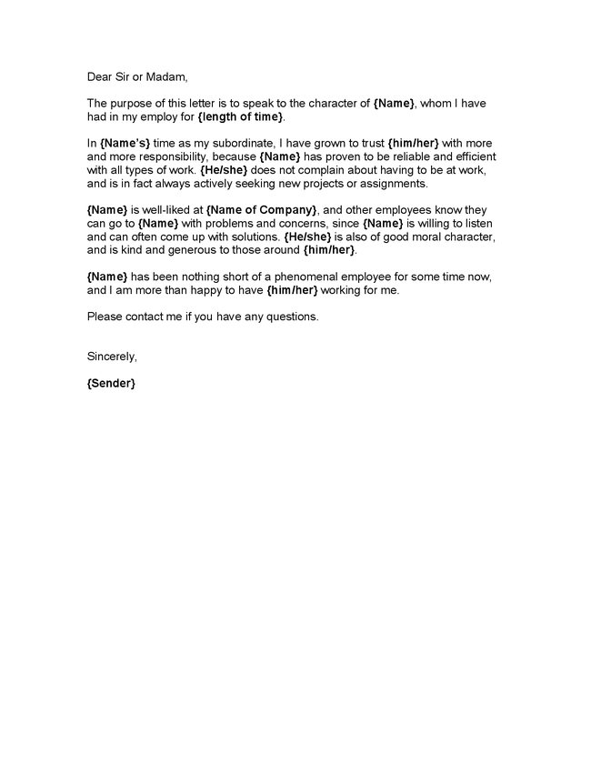 Character Reference Letter Letter Pinterest – Template Reference Letter from Employer