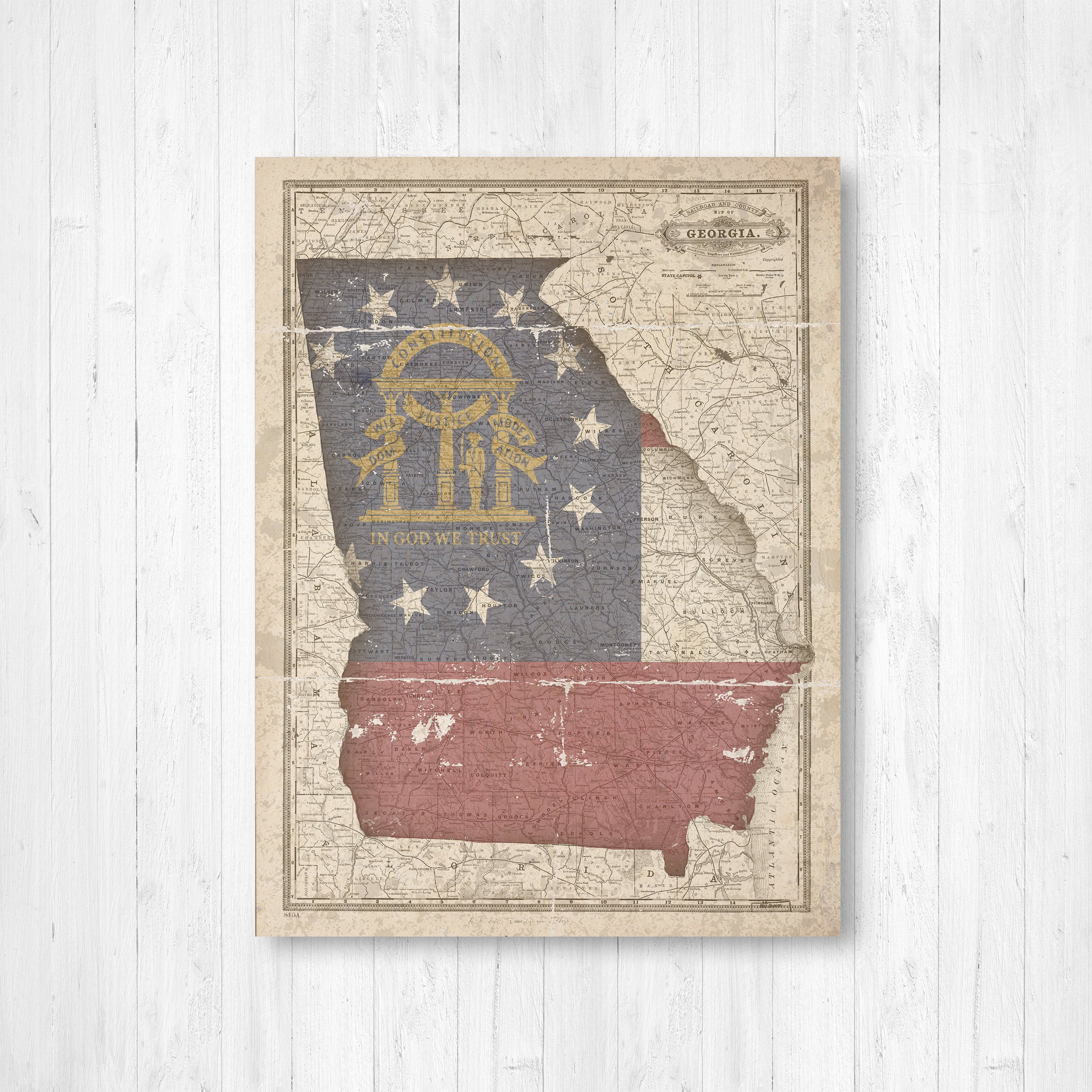 Georgia Georgia State Map Georgia Flag Vintage Flag Etsy Map Art Art Prints Georgia Flag