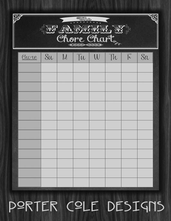 Chalkboard Chore Chart Printable Chore Chart Printable Chore
