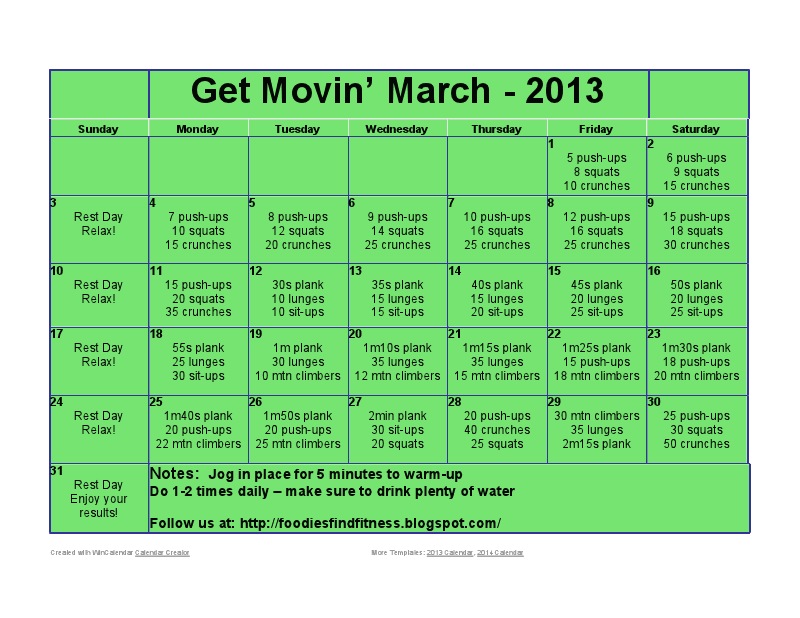 Get Movin March Workout Calendar Challenge From Foodiesfindfitness