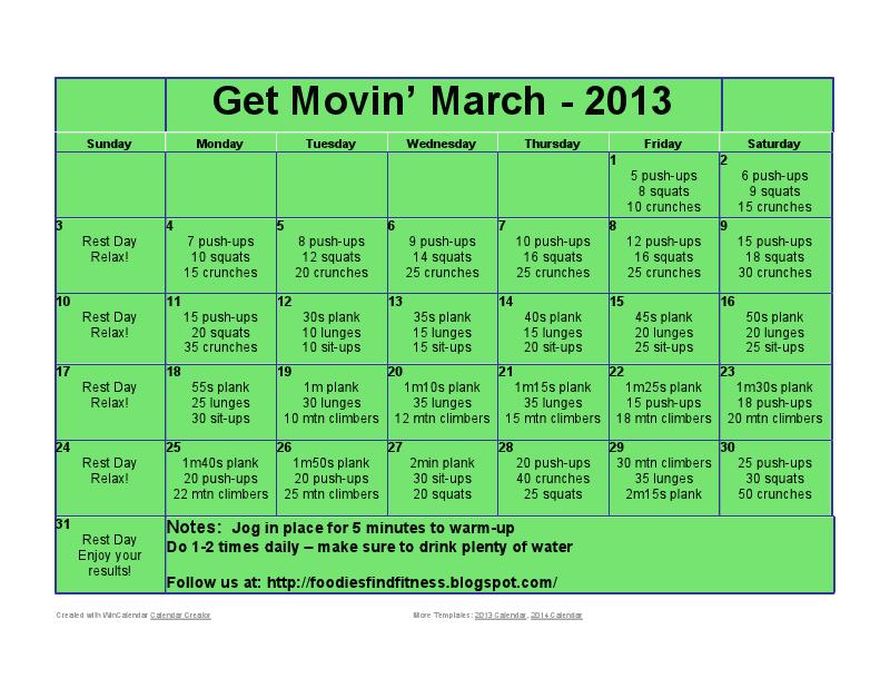 Month Workout Challenge Workout Calendar March Workout