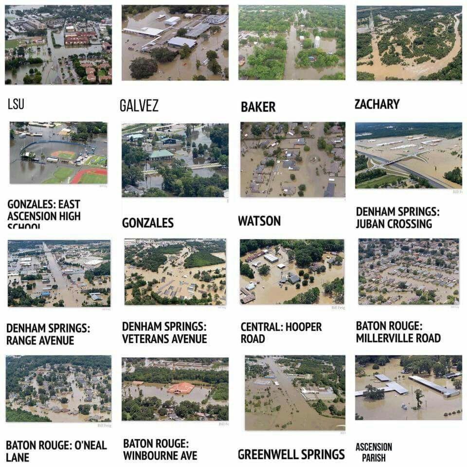 Horrific Aug 14 2016 Louisiana flood. Images in the Baton