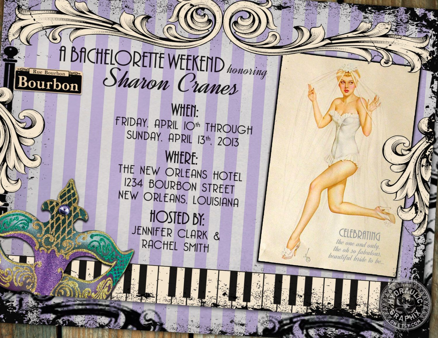 party invitations after wedding%0A New Orleans Bachelorette Party Invitation with pinup girl  bourbon street  sign  jazz piano keys