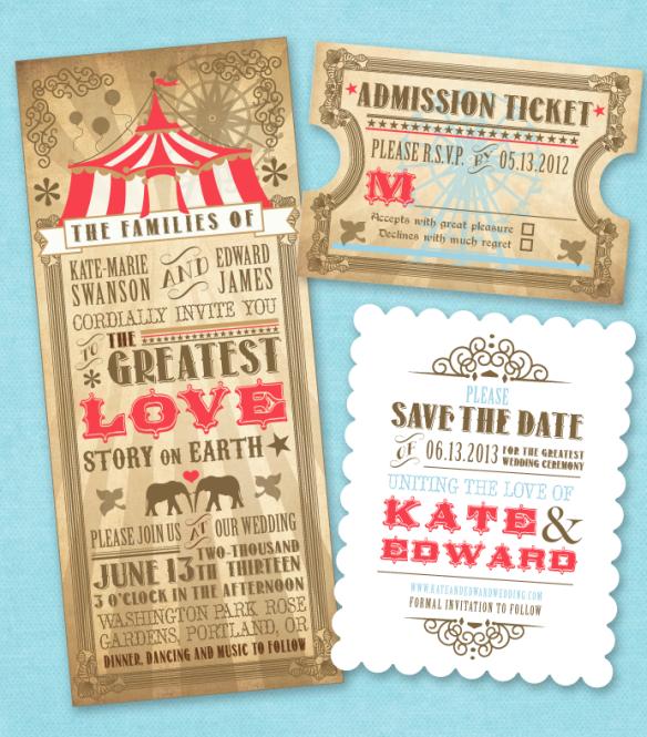 Cirque cartes d/'invitation au mariage en vintage-style-billet invitation