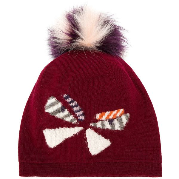 Fendi butterfly pom pom beanie (23520 RSD) ❤ liked on Polyvore featuring  accessories b9bde0ba3a2