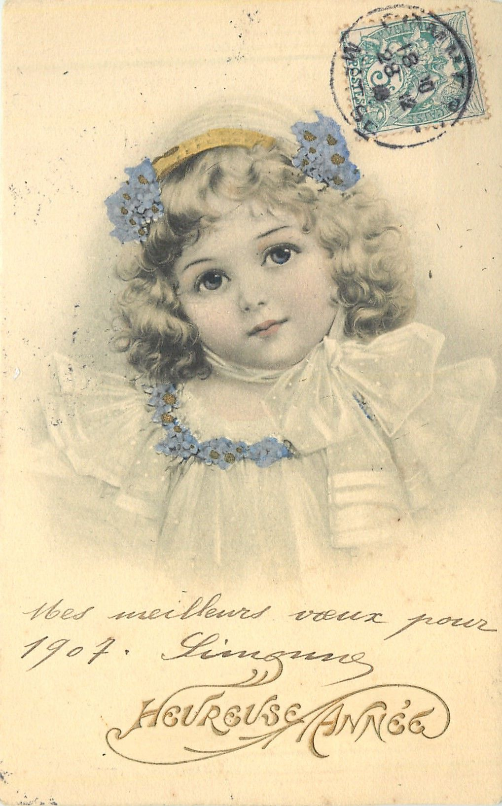 head & shoulder study of young girl facing & looking front, forget-me-not trim to dress & hat