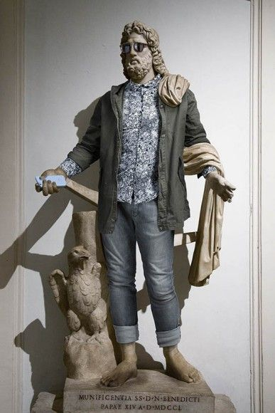 Ancient Greek sculptures dressed up in hipster clothing  Ancient