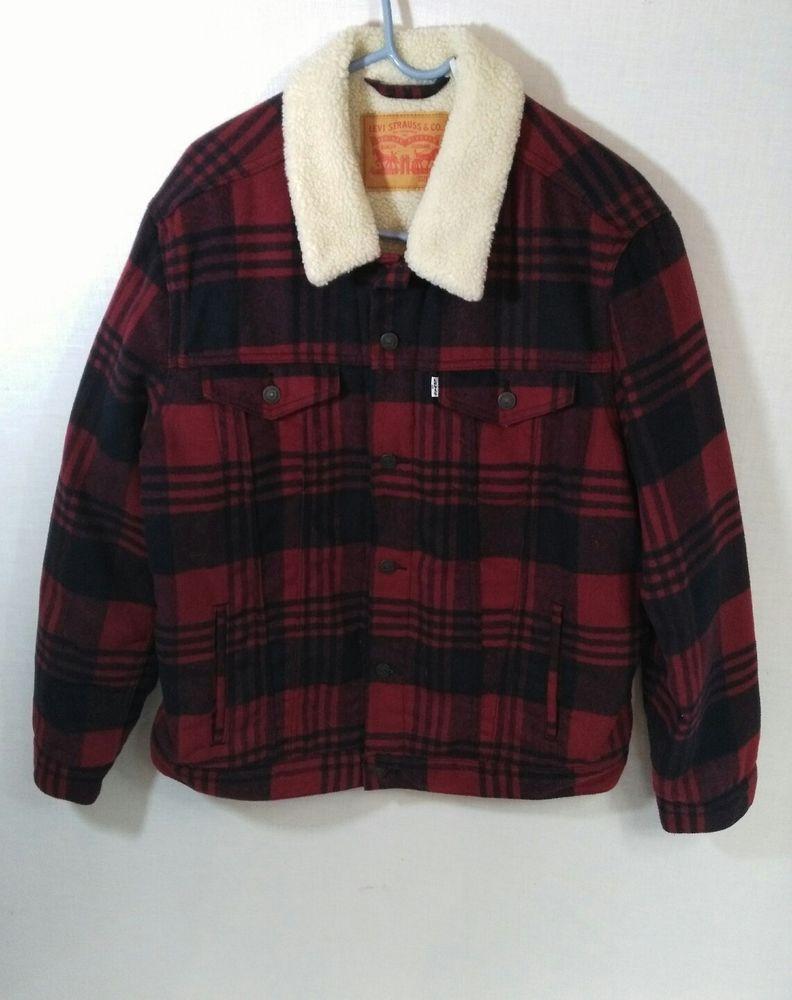 Levi's Mens Sherpa Trucker Jacket Burnt Henna Plaid Size XL #Levis #Trucker