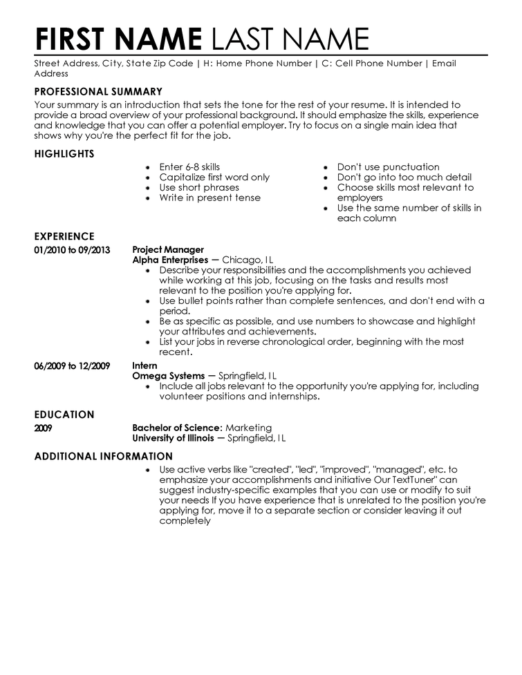 how to write a resume for beginners