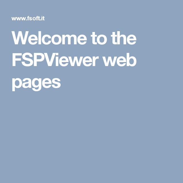 Welcome to the FSPViewer web pages
