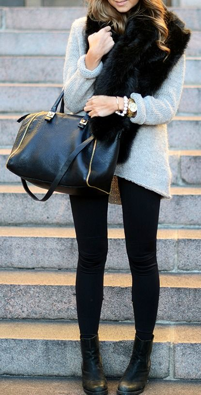 Faux fur collar and knit Zara, Bracelet BikBok by Marianna, Watch MK, Boots Bianco<3