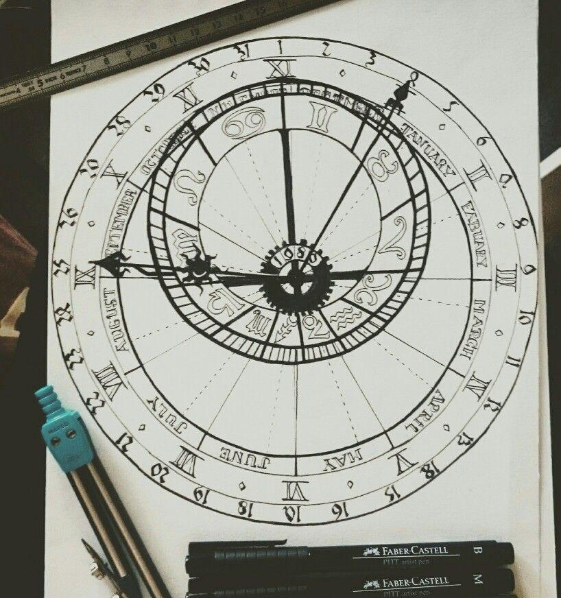 Astronomical Clock Tattoo: Horloge Astronomique #draw #Drawing #Oclock #horloge