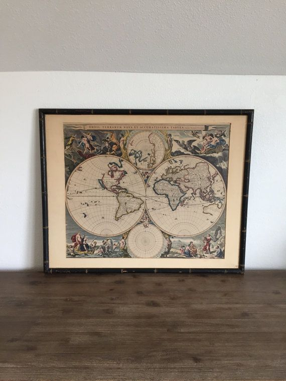 Beautiful framed double hemisphere map of the world by nicholas beautiful framed double hemisphere map of the world by nicholas visscher first published in 1658 gumiabroncs Choice Image