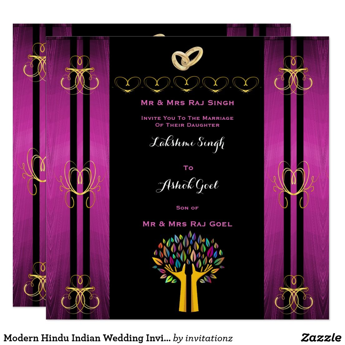 Modern Hindu Indian Wedding Invitation Gold Purple | Hindu Gifts ...