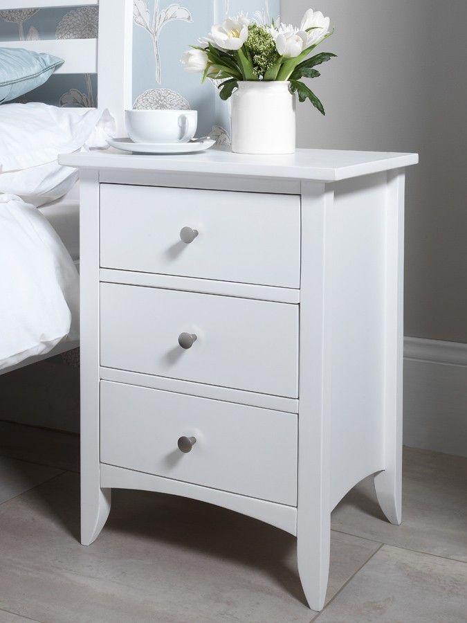 Edward Hopper White 3 Drawer Bedside Table White Bedside Table Classic Bedside Tables Bedroom Furniture