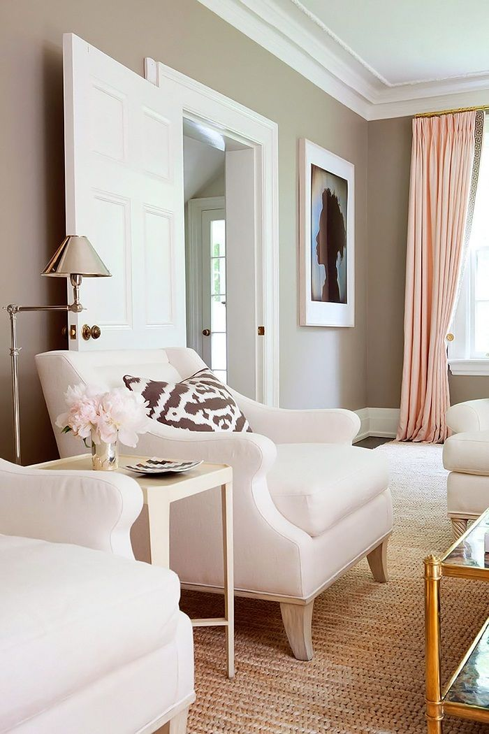 living room wall paint colors%0A Anne Hepfer Designs  Stunning pink and gray living room with taupe walls  paint color paired with floor to  love the colors of the drapes and walls