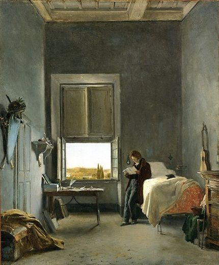 Léon Cogniet (French, 1794–1880) The Artist in His Room at the Villa Medici, Rome, 1817 Oil on canvas; 17 1/2 x 14 5/8 in. (44.5 x 37 cm) The Cleveland Museum of Art, Mr. and Mrs. William H. Marlatt Fund