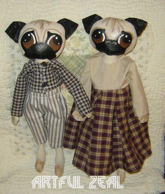 Pug Dog Doll Paper Pattern Primitive Folk Art Artful Zeal | eBay ...