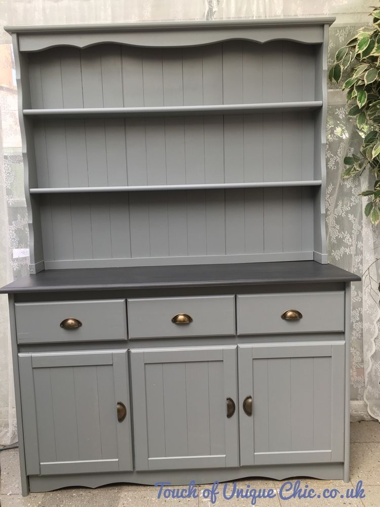 Large Pine Welsh Dresser Grey Delivery Available Ebay