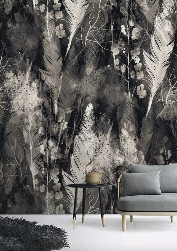 dark feather wallpaper monochrome plume wall mural minimalist home rh pinterest com