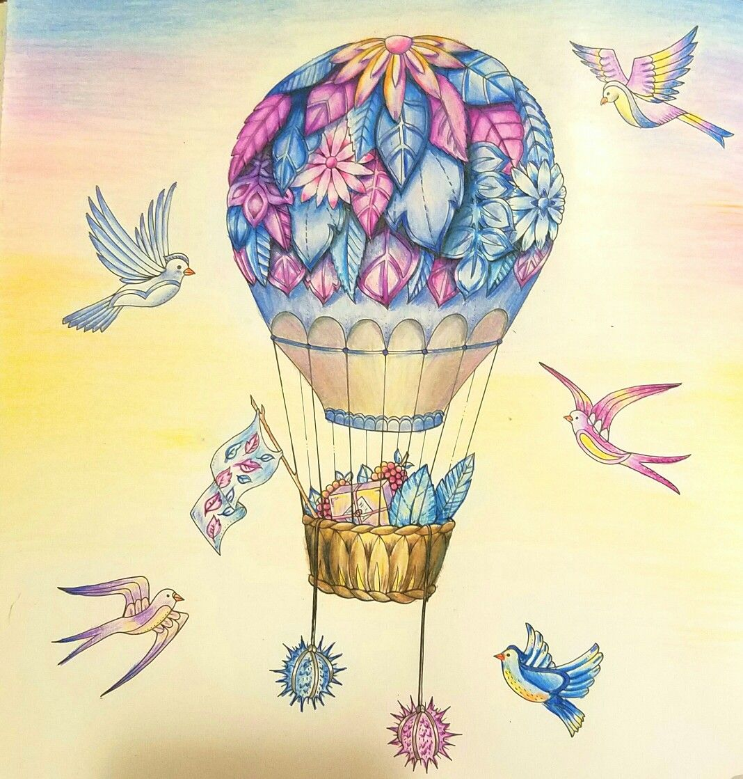 Air Balloon Color Page Completed By TMcG Enchanted Forest Book Johanna Basford Pencils