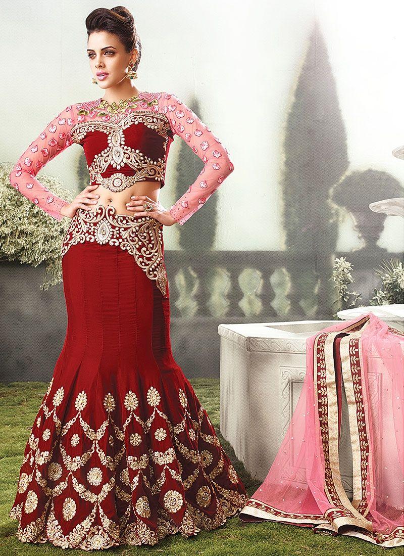 Super Duper Red Velvet Heavy Bridal Anarkali Suit | Indian Clothes ...