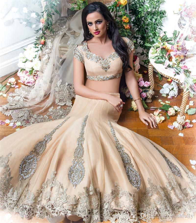 luxury two pieces indian arabic wedding dresses 2016 champagne
